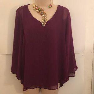 Jennifer Lopez Purple berry blouse M